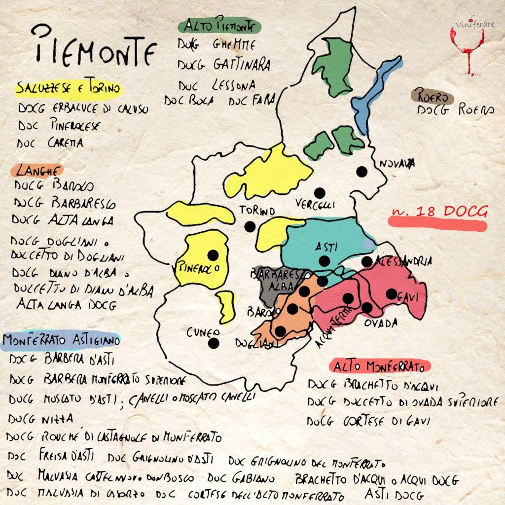 Cartina Piemonte Torino.I Vini E I Vigneti Del Piemonte Viniferare It