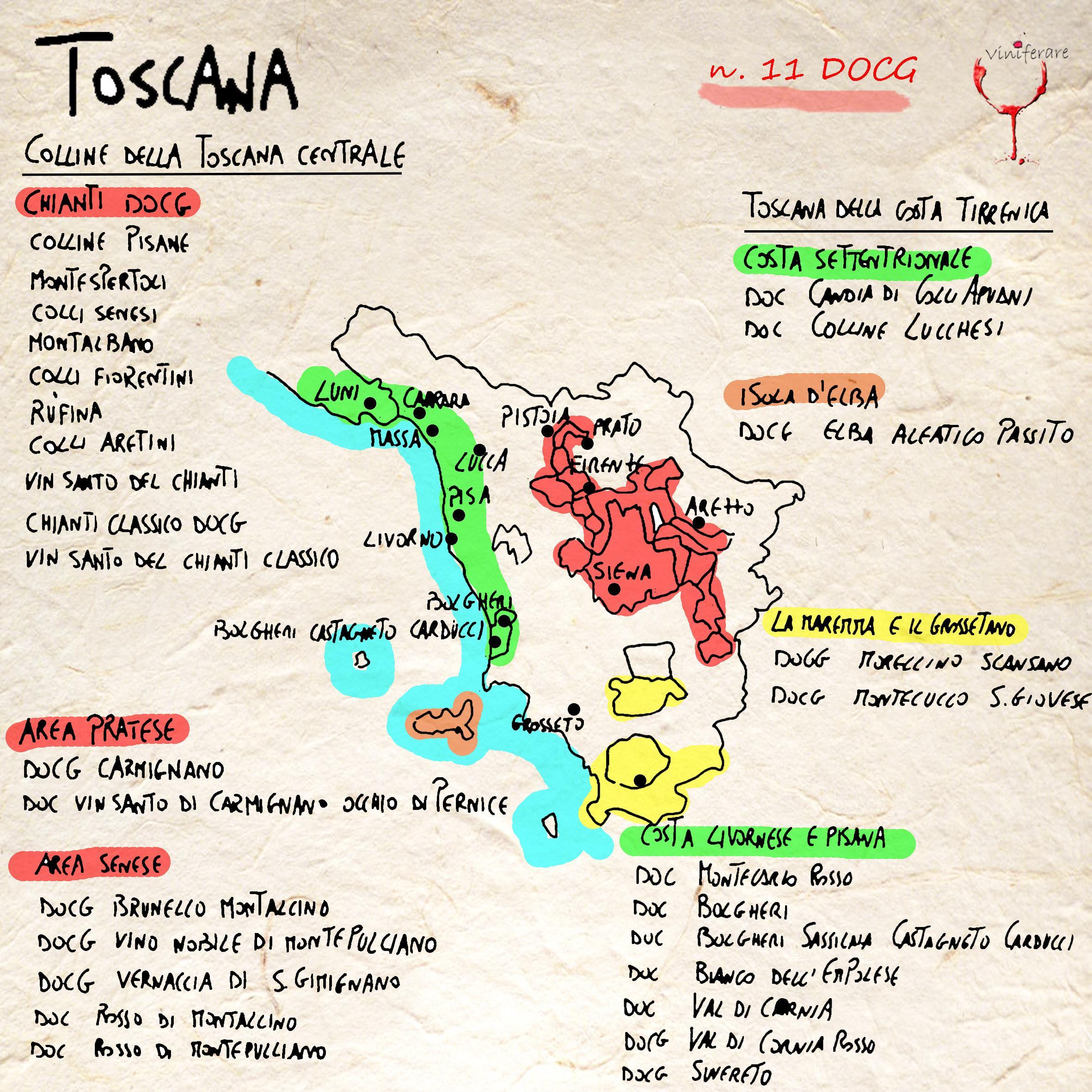 Costa Tirrenica Toscana Cartina.I Vini E I Vigneti Della Toscana Viniferare It
